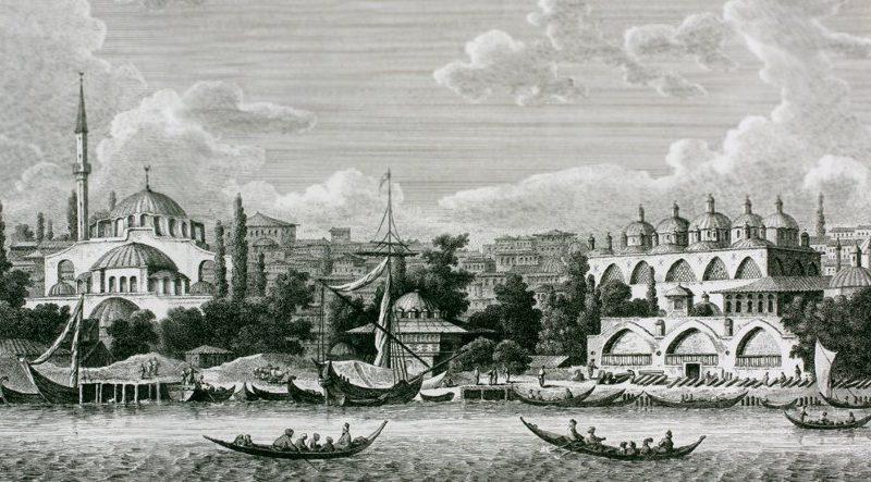 Tophane Meydanı ve top dökümhânesini gösteren bir gravür (Comte de Choiseul-Gouffier, Voyage pittoresque de la Grèce, Paris 1782-1822, II, lv. 95)